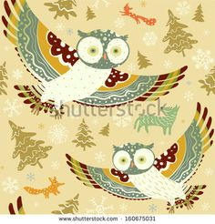 Flying owls. Seamless pattern with owls, wolf, fox, squirrel. Vector background.