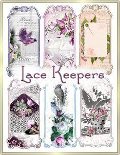 INSTANT DOWNLOAD Victorian Floral Lace, Ribbon, Thread Keeper Set Digital Vintage Printable