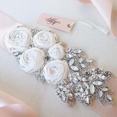 Gorgeous silk rosette sash designed for our lovely bride, Lindsey....xoxo