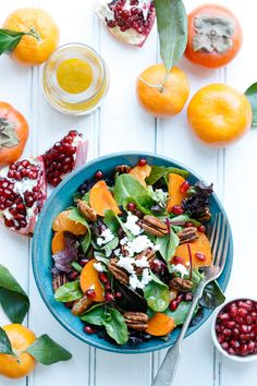 Bright and Colorful Winter Salad Recipe with Citrus Vinaigrette  #clemengold #gathering #lecreuset