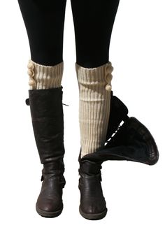 Blue 55 Women's Cute Versatile Long Fashionable Knit Leg Warmers w/ Pom Poms (Vanilla). 100% Acrylic. Super comfortable, warm, cozy and looks beautiful layered on!. Can be worn with any size boots and/or heels! Wear it long or bunched!. Adorable poms poms on the side, these leg warmers are the perfect Fall/Winter accessory!. Makes a beautiful gift and lovely stocking stuffer!.
