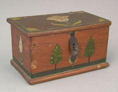 "Jacob Weber(1772-1865), Fivepointville, Lancaster County, Pennsylvania, dated 1850, miniature painted pine dresser box, the lid and sides with tulips on a red ground, the front with trees and lawn, 2"" h., 3 1/2"" w."
