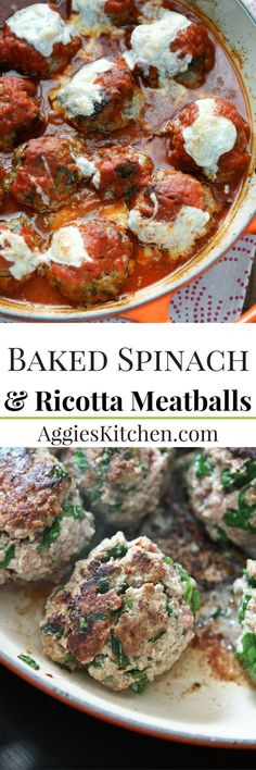 Baked Spinach and Ricotta Meatballs are easy to make and will be a family favorite! Perfect addition to Sunday Supper! Recipe via aggieskitchen.com