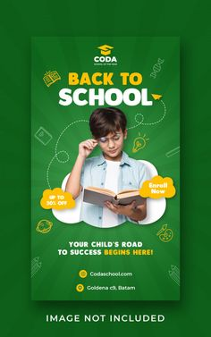Premium PSD | Template for back to school admission on social media