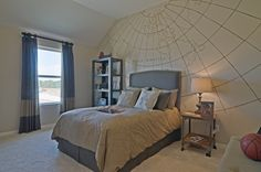 For the explorer in your life, this great accent wall features a globe pattern and muted colors. Highland Homes, Arbors at Willow Bay, Plan 245, Frisco, TX.