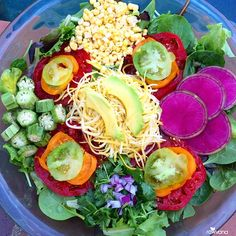 Be grateful, act with love, check your motives, watch your attitude, and forgive. Exquisite salad tonight! Mixed greens, raw corn, okra, heirloom tomatoes, watermelon radish, cilantro, red onion, yellow squash, and avocado dressed with lemon