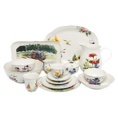 42-Piece china dinnerware set with a garden motif.  Product:    Product: 4 Dinner plates4 Salad plate...