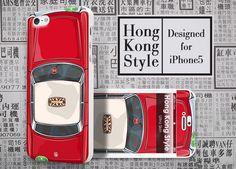 Hong Kong Style Red Taxi - #Apple #Iphone5 Designer Case - #UltraCase #iphone5case #taxi #HongKong