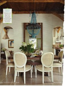 chandelier + square table + french chairs