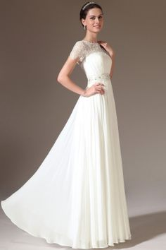 2014 Scoop Lace Neckline Short Sleeve Pleated Bodice A Line Floor Length Prom Dress With Sash USD 139.99 VUPZRYKQKZ - VoguePromDressesUK