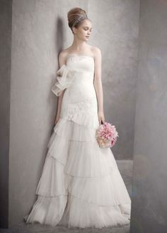 Dresses Bride Satin Faced Organza Fit And Flare Gown David S Bridal Gowns Gt