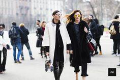 Giovanna Battaglia & Sara Battaglia during Milan Fashion Week Fall Winter 2015.