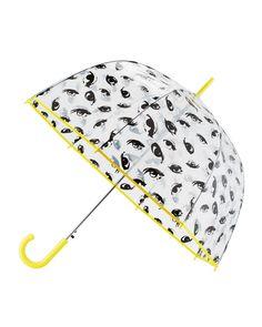 ShedRain Eye-Print Auto-Open Bubble Umbrella, Spy Black/Yellow