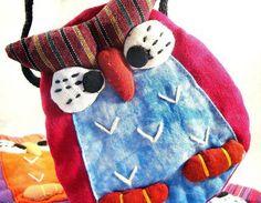 Handmade Owl Pouch of Shibori Cotton