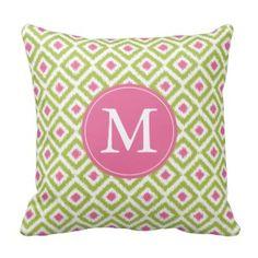Monogrammed Lime Green Pink Diamonds Ikat Pattern Throw Pillow - Green Throw Pillows