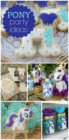 A pony girl birthday party inspired by Rarity with amazing decorations and gorgeous party favors! See more party planning ideas at CatchMyParty.com!