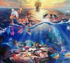 Thomas Kinkade - Disney - The Little Mermaid Disney Nerd, Arte Disney, Disney Images, Disney Pictures, Disney Pics, Disney Artwork, Disney Drawings, Disney Puzzles, Disney Background