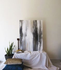 "40"" x 30"" Abstract Painting White, Gold, Black"