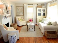 Clean  Bright~Living Room Update~Love the painted hutch in the corner