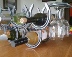 Horseshoe Wine Rack Holds Single Bottle with Two by ChicksDigIt82
