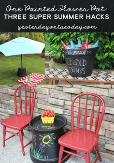 How to transform One Painted Flower Pot into Three Super Summer Hacks including a kid's table, a place for cold drinks and an umbrella stand! Amazing and budget-conscious ideas for summer living and entertaining. Porter could draw on them!