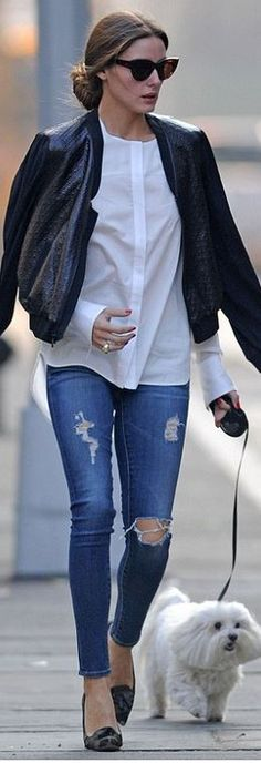 Olivia Palermo: Sunglasses – Christian Dior  Shirt – Susan Woo  Jeans – AG Adriano Goldschmied  Shoes – Gianvito Rossi