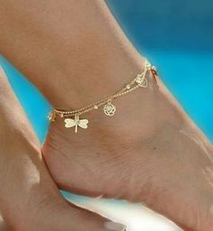 Women Charm Gold Dragonfly Chain Anklet Bracelet Barefoot Sandal Foot Jewelry for sale online Ankle Jewelry, Cute Jewelry, Body Jewelry, Jewelry Accessories, Jewelry Design, Jewelry Bracelets, Jewlery, Summer Accessories, Stylish Jewelry