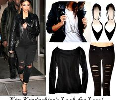 Black Distressed Jeans, Black Tee & Black Leather Jacket With Black Pumps, All Black Everything