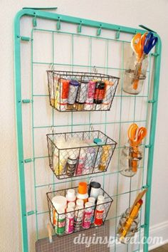Repurposed Bed Spring Craft Storage #repurposed #upcycled #craftstorge