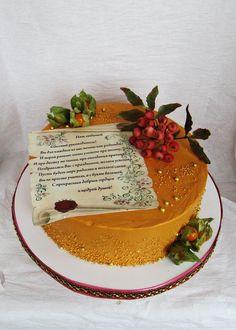 торт три шоколада, украшен шоколадным кремом, веточка рябины из сахарной мастики, печать на сахарной бумаге