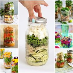 26 Healthy and Portable Mason Jar Meals Coconut-Lime Avocado Zucchini Noodle Salad With Quinoa, Peas Mason Jar Lunch, Mason Jar Meals, Meals In A Jar, Mason Jars, Zucchini Noodles Salad, Zucchini Quinoa, Quinoa Salad, Healthy Snacks, Zuchinni Noodles