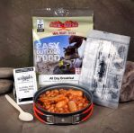 Ration packs / hot food kit/ Chicken Tikka (all day breakfast) Comes complete with no flame heater spoon and wipes simply add a little water and chemical heater will heat food