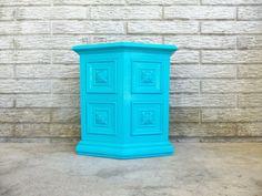 Perfect for a guest bathroom or powder room! Aqua Trash Can Garbage Bin Small Petite by MakingMidCenturyMod, $30.00