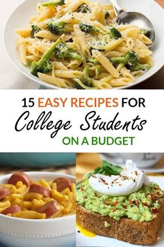 Kids Meals These are the best easy recipes for college students who need to save money! - These are easy recipes for college students. You can cook these meals in your dorm. Find out what college recipes are easy to make. They are cheap recipes. Easy College Meals, Easy Recipes For College Students, College Cooking, Frugal Meals, College Food Recipes, Easy Student Meals, Student Food, College Food Budget, College Lunch