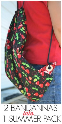 How to take TWO bandannas and turn them into a summer backpack for beach trips, library days, etc.! u-createcrafts.com