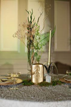art deco emerald and gold centerpieces   Ellen Bucher Photography