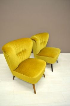 50's cocktail chair in mustard yellow velvet upholstery.