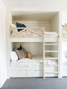 Kids bedroom with built-in bunk beds with shiplap walls - Bedroom Design Ideas Bed Design, Shared Bedroom, Diy Bunk Bed, Cool Bunk Beds, Bedroom Design, Bedroom Loft, Bed, Space Bedding, Kids Bedroom