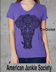 Elephant Tribal Design T-Shirt. Womens by AmericanJunkieSoc
