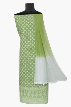 Ada #handembroidered #green  #cotton #lucknowi  #chikankari  Suit Piece - A66467