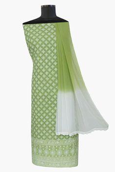 Ada #handembroidered #green  #cotton #lucknowi  #chikankari  Suit Piece - A66467
