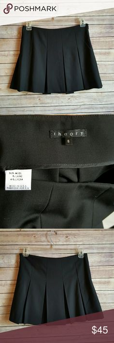 """Theory Pleated Miniskirt Beautiful black wool blend pleated miniskirt. Measures 15.5"""" long, 16"""" waist. Side zip. Excellent condition! Theory Skirts Mini"""