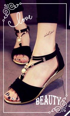 Bead Strappy T Strap Zipper Peep Toe Flat Wedge Heel Sandals
