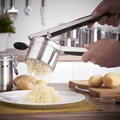 Potato Ricer & Fruit Press Mirror finished stainless steel, with soft silicone handles Ideal for creating smooth creamy mashed potatoes Great for mashing vegetables for baby food Dimensions: 12.8 Inch x 4 Inch x 4.5 Inch (4 Inch diameter cup), Dishwasher safe