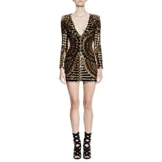 Balmain Long-Sleeve Embellished Mini Dress (€5.265) ❤ liked on Polyvore featuring dresses, black gold, long sleeve sequin cocktail dress, long sleeve v neck dress, long sleeve mini dress, short dresses and long-sleeve mini dress