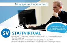 Your journey to a successful career starts here! Apply now! We're Hiring -  Management Accountant  For faster application complete your profile at careers.staffvirtual.com and rest assured our Recruitment Specialists will assist you with your application.  #SV #StaffVirtual #StaffVirtualCareers #BPO #Outsourcing