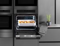 Style and substance, SENSE gunmetal is elegant and functional. with features such as MotionHeat+ you'll get the perfect roasties every time. Take a look at the full range. Wine Cabinets, Kitchen Collection, Ovens, Black Glass, Kitchen Appliances, Range, Elegant, Home, Design