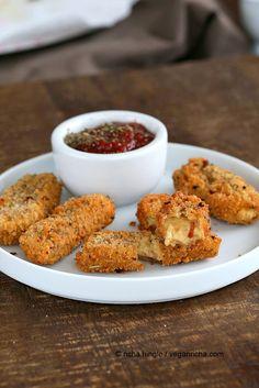 Mozzarella Sticks - Baked or Fried with Cashew Mozzarella. Vegan Recipe | Vegan Richa