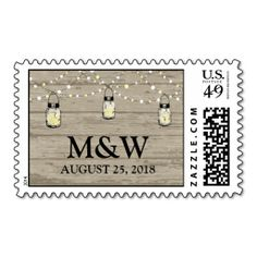 Rustic Mason Jar String of Lights Postage Stamps. Wanna make each letter a special delivery? Try to customize this great stamp template and put a personal touch on the envelope. Just click the image to get started! Country Wedding Stationery, Backyard Wedding Invitations, Anniversary Party Invitations, Mason Jar Wedding Invitations, Save The Date Invitations, Wedding Invitation Sets, Invites, Wedding Postage Stamps, Rustic Mason Jars
