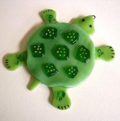 Fused Glass Turtle Suncatcher by CDChilds on Etsy